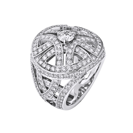 1 - Ring large model, white gold, diamonds