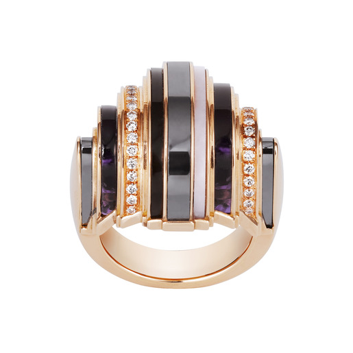 1 - Ring pink gold, hematite, amethysts, smoky quartz, pink opals, diamonds