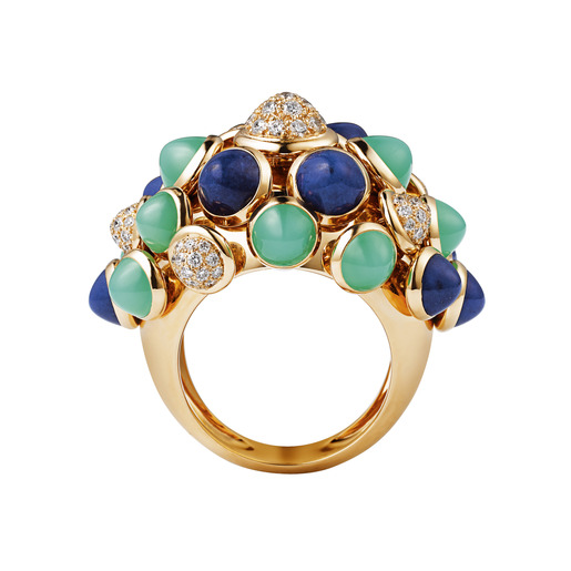 1 - Yellow gold, lapis lazuli, chrysoprase, diamonds