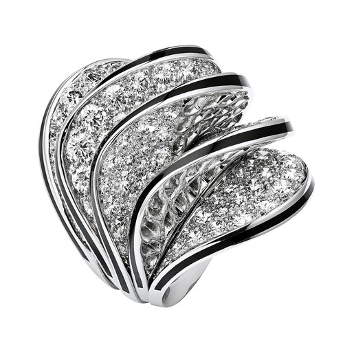 2 - Ring, five waves in white gold, black lacquer, diamonds