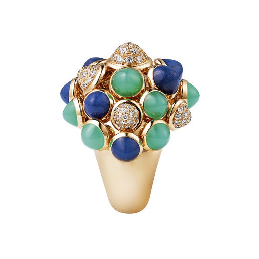 2 - Yellow gold, lapis lazuli, chrysoprase, diamonds