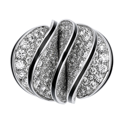 3 - Ring, five waves in white gold, black lacquer, diamonds
