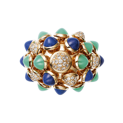 3 - Yellow gold, lapis lazuli, chrysoprase, diamonds