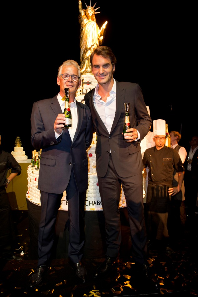 Roger Federer and President & CEO Stéphane Baschiera at Moët & Chandon