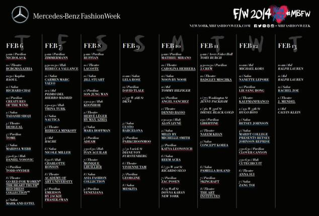 Calendario completo NYFW