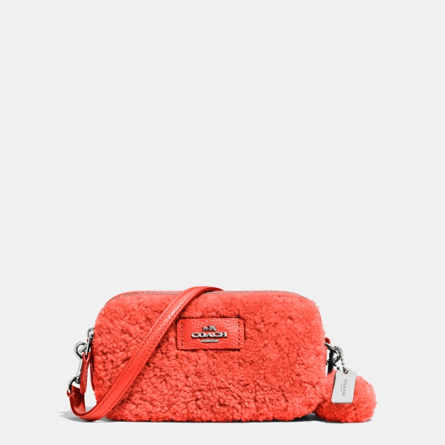 53551 Coach Shearling Crossbody Pouch Marshmallow 135GBP Orange