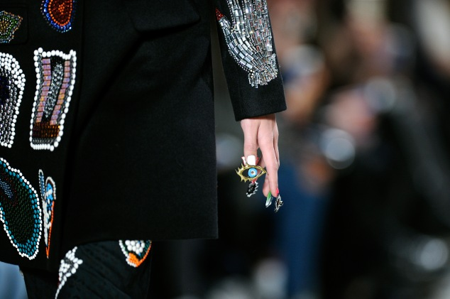 A detail of the nail art at CND for Libertine Fall/Winter 2016 runway at The Gallery, Skylight at Clarkson Sq on February 15, 2016 in New York City.