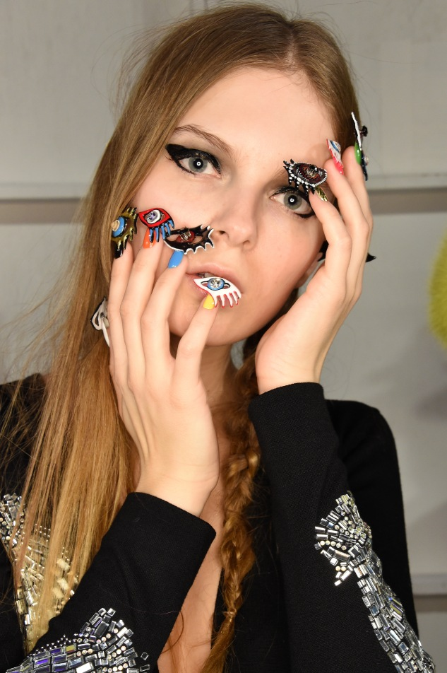A detail of the nail art at CND for Libertine Fall/Winter 2016 backstage at The Gallery, Skylight at Clarkson Sq on February 15, 2016 in New York City.